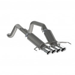 "3"" Dual Muffler Axle Back, with Quad 4"" Dual Wall Tips, T304"