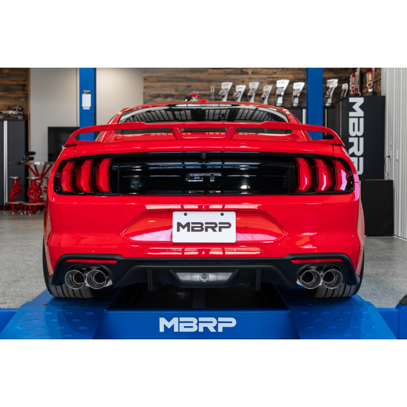 Quad 4 Dual Wall Tips Street Version Black Coated 2018-Up Ford Mustang GT MBRP S7205BLK 3 Cat Back